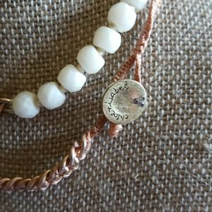 White and gold beaded wrap